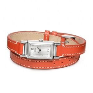 Coach Orange Madison Double Wrap Leather Watch